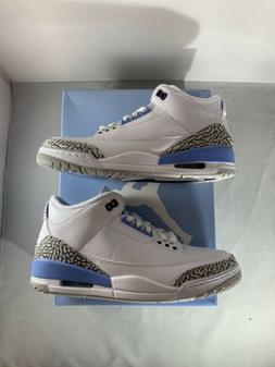 Air Jordan 3 UNC Retro White Valor Blue CT8532-104 Mens Size