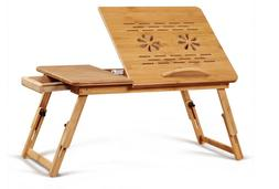 BAMBOO laptop stand Folding Table height adjustable fan and