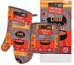 Barbeque 4 Pc Kitchen Set Oven Mitt Dish Towel 2 Hot Pads Po