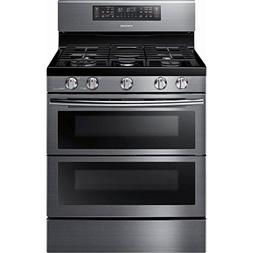 Samsung Black Stainless Steel Flex Duo Freestanding Gas Rang
