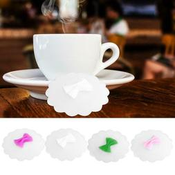 Bowknot Food Silicone Cup Lids Heat-resistant Dust-proof Wra