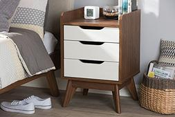 Baxton Studio Brighton 3 Drawer Nightstand in White and Waln