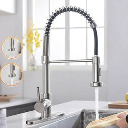 Kitchen Sink Faucet Single Handle Pull Down Sprayer Brushed