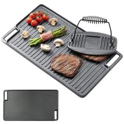 Cast Iron Griddle Grill Large Plate Pan Steak BBQ Press Gas