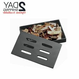 Cast Iron Smoker Box Barbeque BBQ Gas Grilling Cover Wood Ch