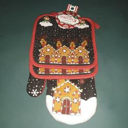 Christmas 3 Piece Oven Mitt and Pot Holders Set Holiday Rein