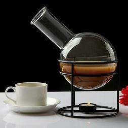 Clear Glass Pot coffee Tumble with steel warmer Drink Friend