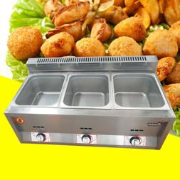 Commercial 3 Pan Food Warmer Propane Gas Steam Table Kitchen
