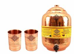 Copper Water Dispenser Storage Pot Matka With 2 Glass Tumble