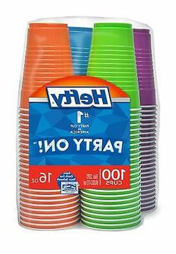 Hefty Disposable Plastic Cups in Assorted Colors 16 Oz 100 C