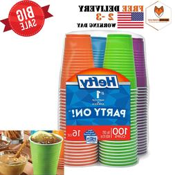 Disposable Plastic Cups in Assorted Colors -16 Oz, 100Count