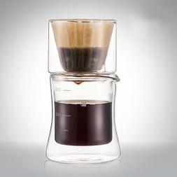 Double Wall Insulated Glass Cup Filter Cafe Brew Mug Espress