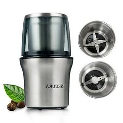 Secura Electric Coffee Grinder & Spice Grinder with 2 Stainl