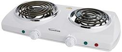 Brentwood Electric 1500W Double Burner Spiral White - 1 Year