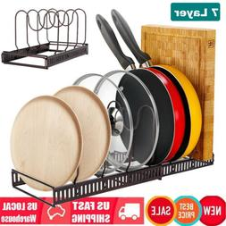 Expandable Holds 7 Pots and Pans Organizer Rack Adjustable B