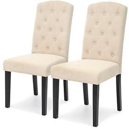 Best Choice Products Set of 2 Fabric Tufted Parsons Dining C