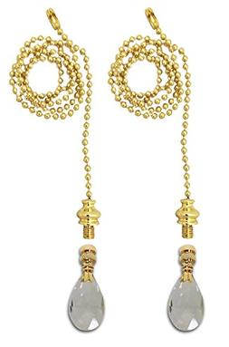 Royal Designs Fan Pull Chain with Radiant Teardrop Clear Cry