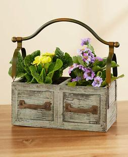 Farmhouse Distressed Wood Drawer Planter with Iron Handle Ga