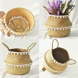 Foldable Handmade Storage Baskets Straw Rattan Garden Flower