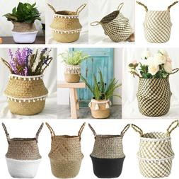 Foldable Handmade Storage Wicker Basket Flower Planter Pot A