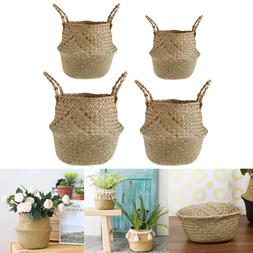 Foldable natural Handmade Storage Baskets Straw Rattan Garde