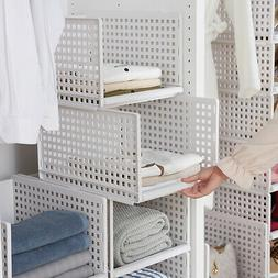 Foldable Stackable Drawer Type Storage Basket for Bedroom Wa