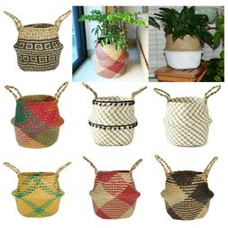 Garden Flower Pot Planter Seagrass Belly Basket Straw Write