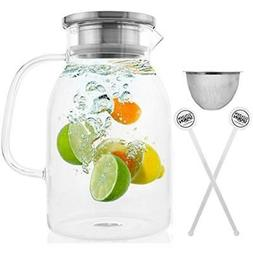 Glass Pitcher With Lid By Durable Carafe Airtight Cap - Micr