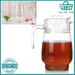 Glass Pitcher With Lid, Hot/Cold Water Carafe, Juice Jar And