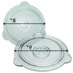 "GLASS SAFE LID SET 8 "" AND 9"" COVERS- USE IN MICROWAVE - OVE"