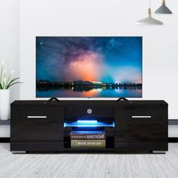 Modern TV Stand Unit Cabinet w/ LED Shelves 2 Drawers Remote