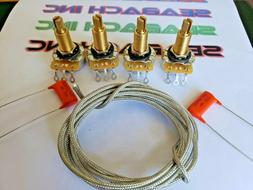 Guitar Long shaft CTS Pots and Orange caps and Wire DIY Kit
