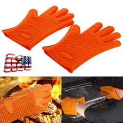 Heat Resistant BBQ Gloves Silicone Cooking Grill Oven Mitts