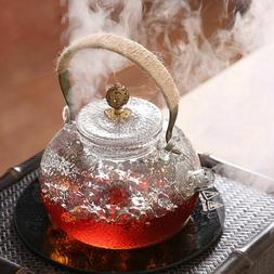 Heat Resistant Glass Teapot With Copper Handle Lid Heated Co