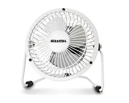 Heller 10cm High Velocity Ultra Quiet Mini Metal White Fan U