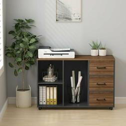 Home Office Large Modern Filing Cabinet with Open Storage Sp