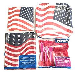 4th of July Party Plates Napkins Tablecloth Plastic Cutlery