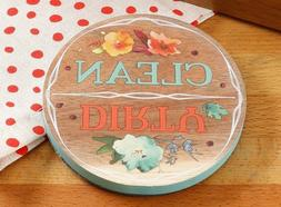 Pioneer Woman kitchen Dish washer Clean Dirty Willow wood ma