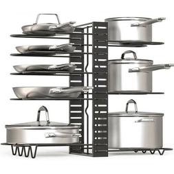 Kitchen Pots and Pans Organizer, Adjustable Pot Lid Holders,