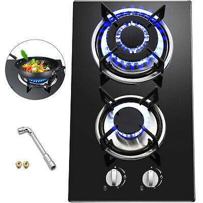 12 2 burners tempered glass gas cooktop