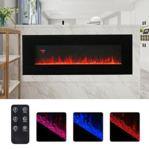 """50"""" Wall Mounted Electric Fireplace Heater Multicoloured Fla"""