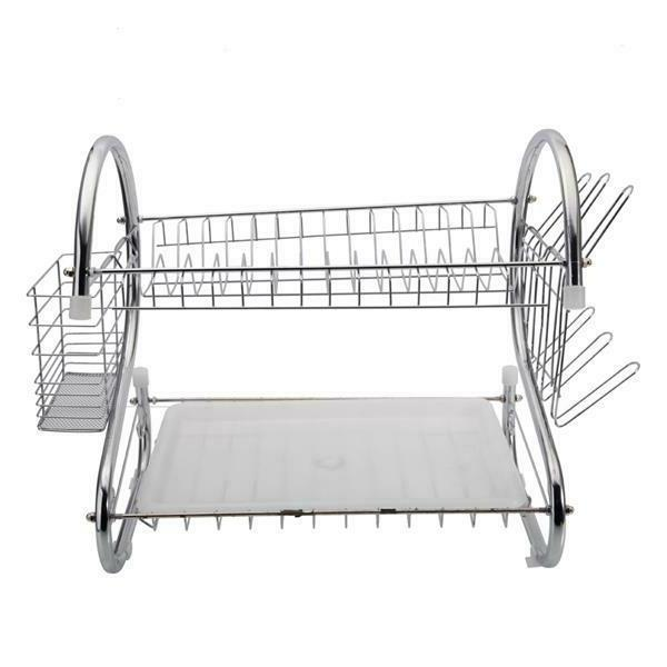 2-Tier Drying Rack Stainless Kitchen Shelf Large