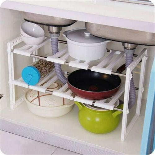2-Tier Rack Storage Expandable Kitchen Holder Cabinet