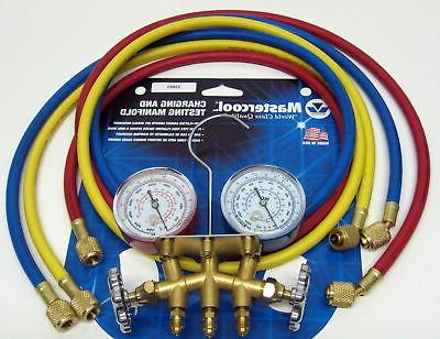 "Mastercool 33661 2-Way Brass Manifold Gauge Set w/ 60"" Hoses"