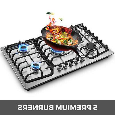 "36"" 5 Burners Built-In Stove Cooktop Kitchen Easy to Clean Gas"