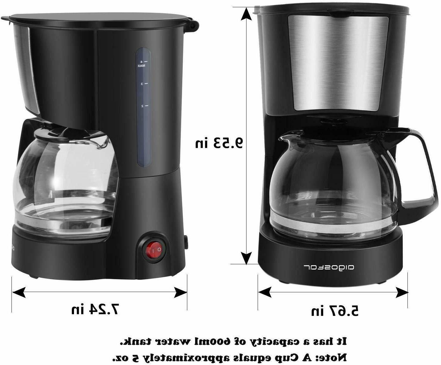 4 Cup Coffee Maker Coffee Filter and Glass Carafe Travel Office
