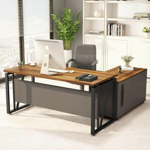 55''L Shaped Computer Desk Writing Table with 40''File Cabin