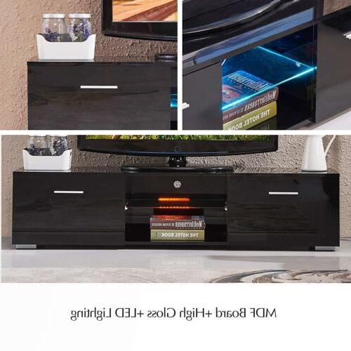 Gloss Unit Cabinet LED Light Drawers Console