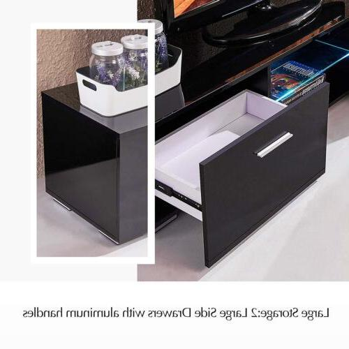 "63"" Stand Gloss Unit LED Shelves Drawers"