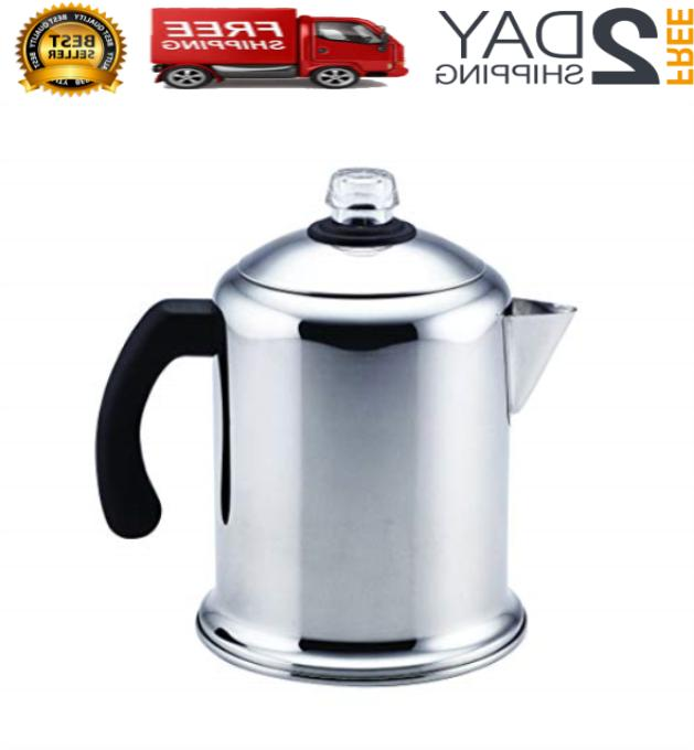 8-Cup Stainless Coffee Stovetop Percolator Safe